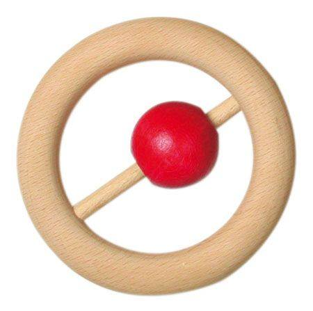Wooden Teething Rattle Ring 8cm with red ball