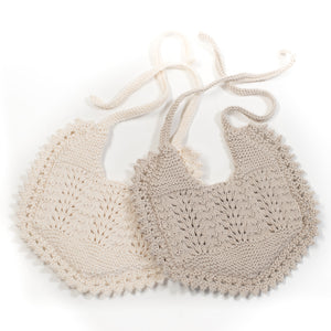Knitted organic cotton double sided bib