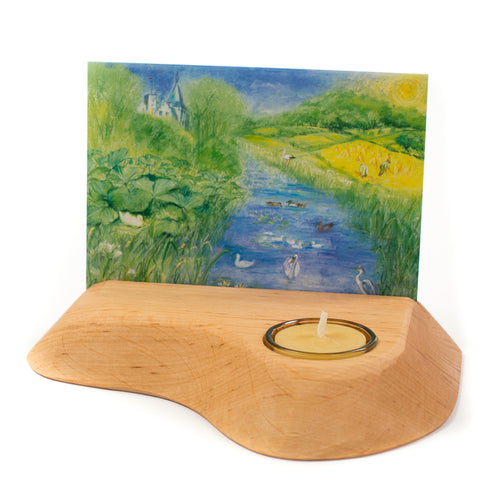 Handcarved postcard holder with tea light