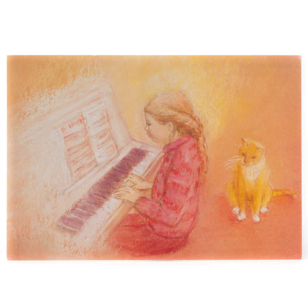 Postcard - Playing Piano