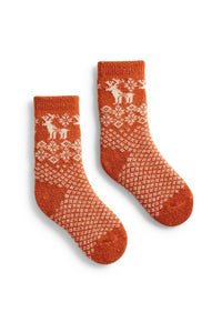 Toddler cashmere angora wool reindeer socks
