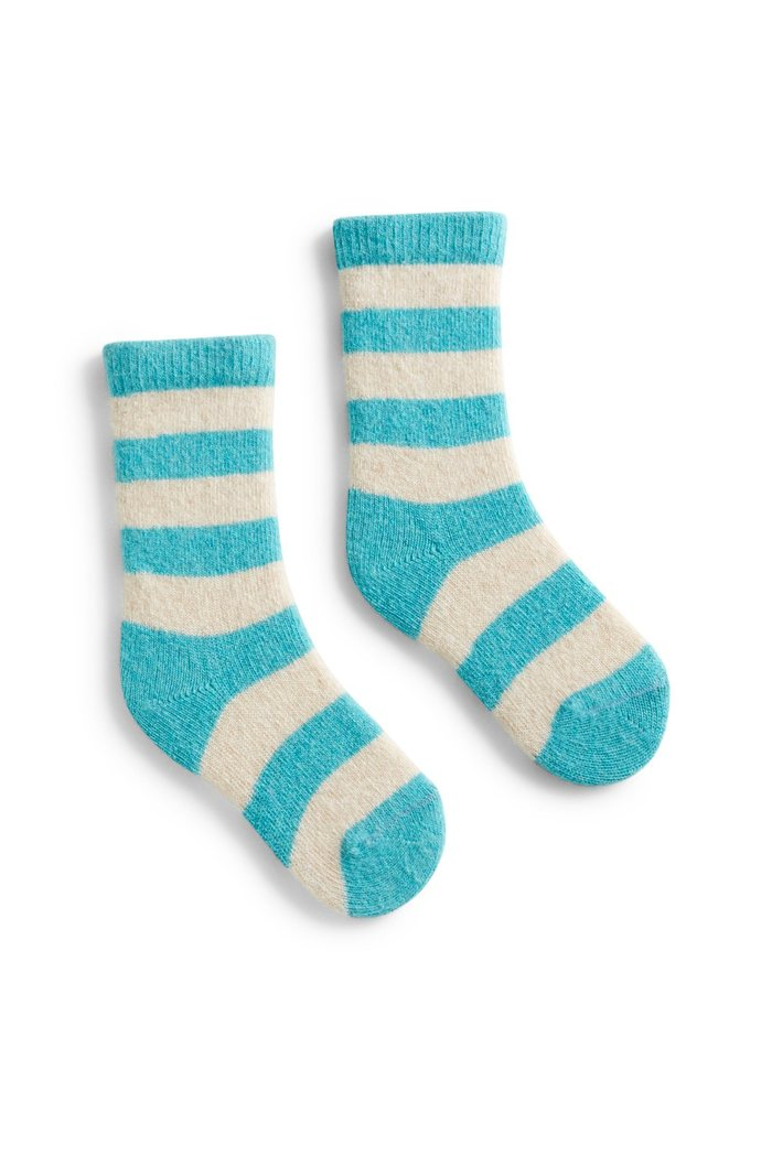Toddler cashmere angora wool rugby stripe socks
