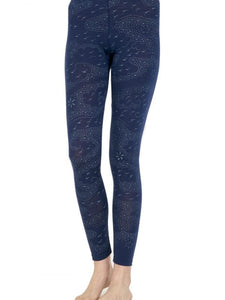 Captain Robbo 'Navy Astral Travel' women's merino leggings