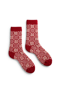 Women's wool cashmere snowflake socks