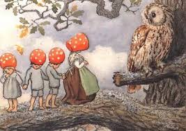 Postcard - Children of the Forest with owl
