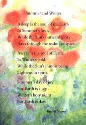 Steiner verse postcard - Summer and Winter: Asleep is the soul of the Earth