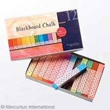 Blackboard Chalk - 12 assorted colours (square)