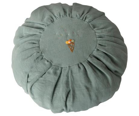 Maileg Cushion- Round, dusty blue