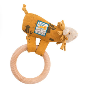 Sous Mon Baobab wooden lion ring rattle