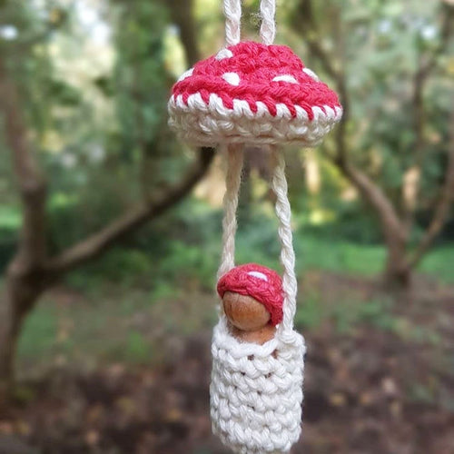 Crocheted toadstool dolly necklace