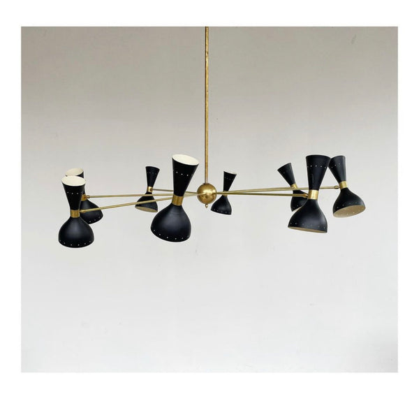 Chandelier in brass and aluminum