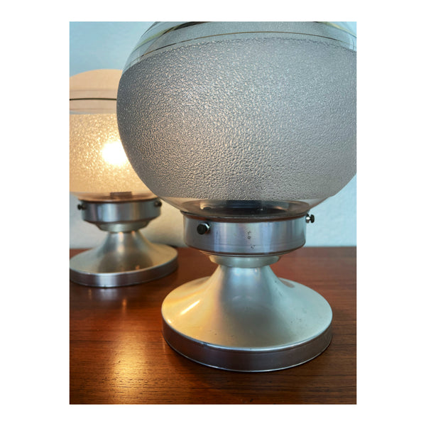 Pair of glass and chrome table lamps