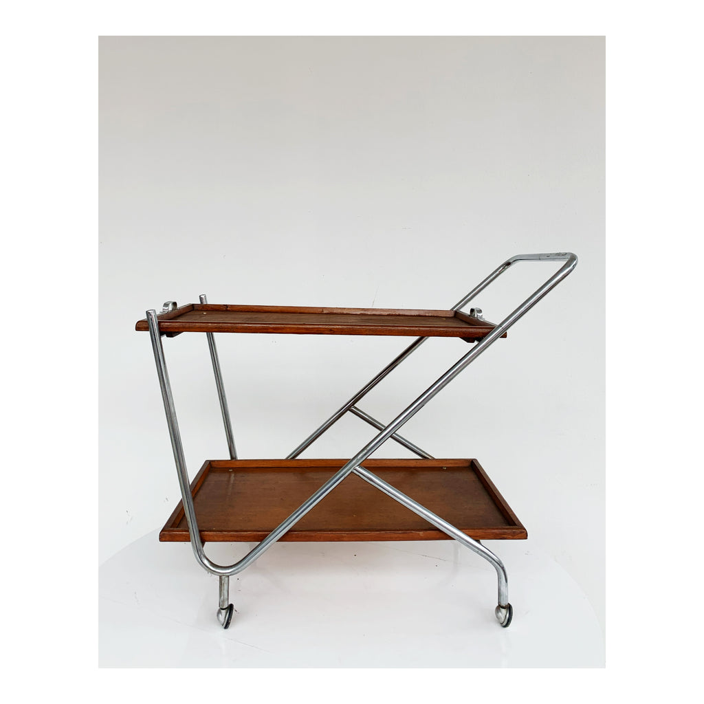 Chrome and wood food trolley