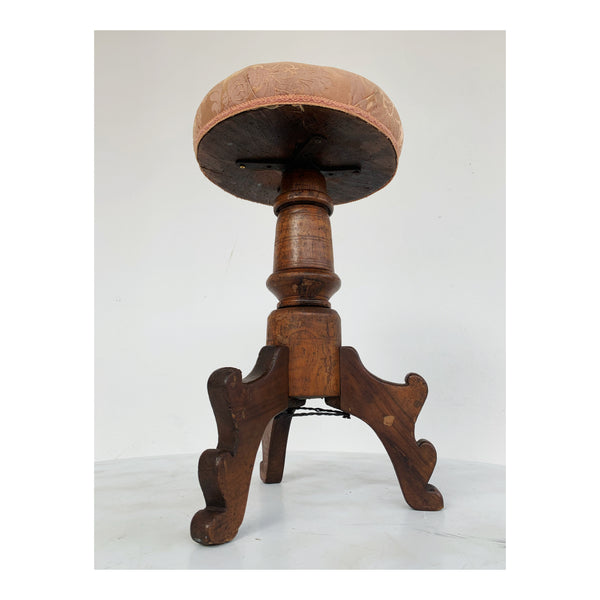 Pink and wood stool