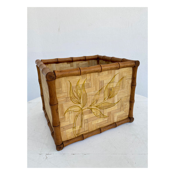 Bamboo and wicker flower pot