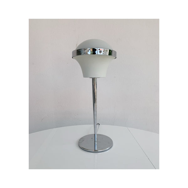 Chrome and white table lamp