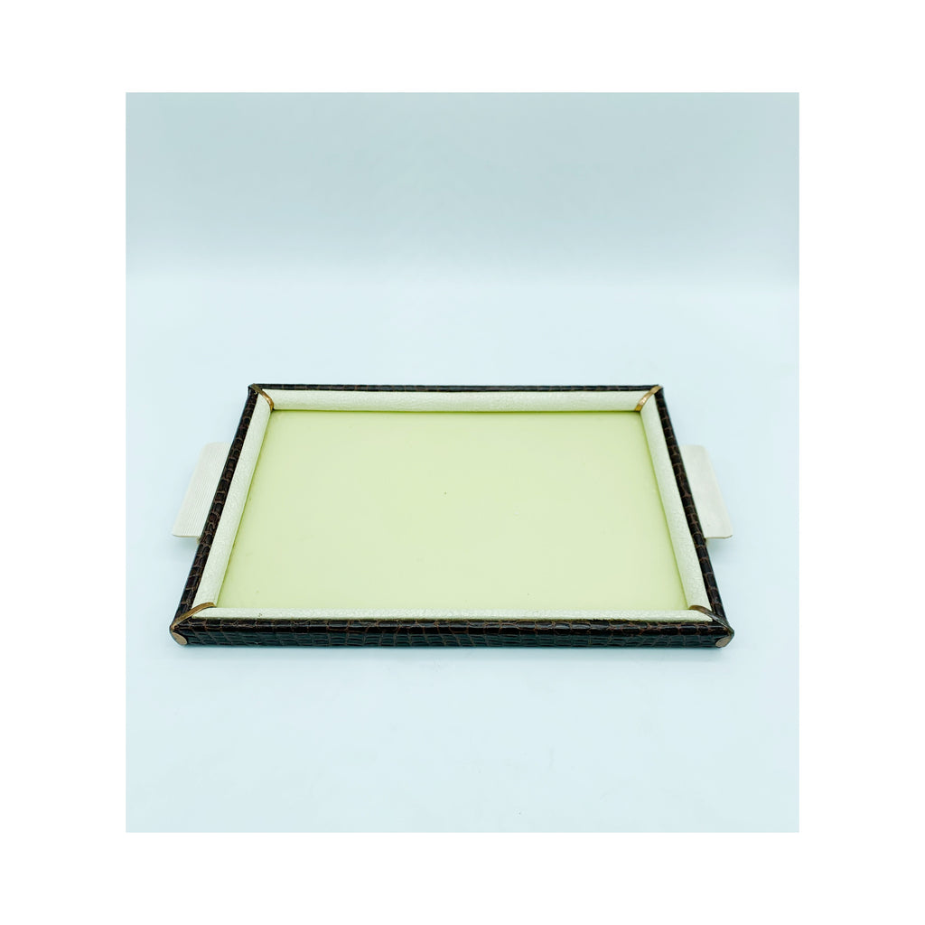 Brown and yellow tray