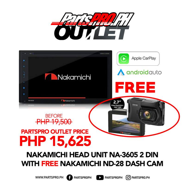 Nakamichi NA-3605 2 DIN Apple Carplay and Android Auto | FREE ND-28 Dashcam
