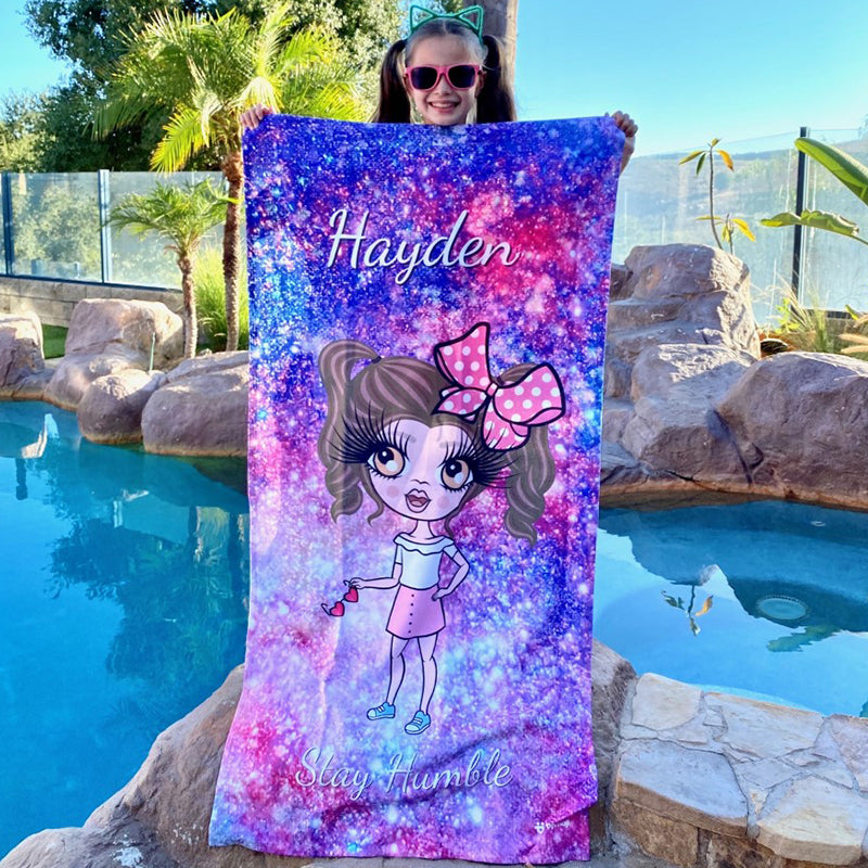 ClaireaBella Girls Galaxy Sparkle Beach Towel
