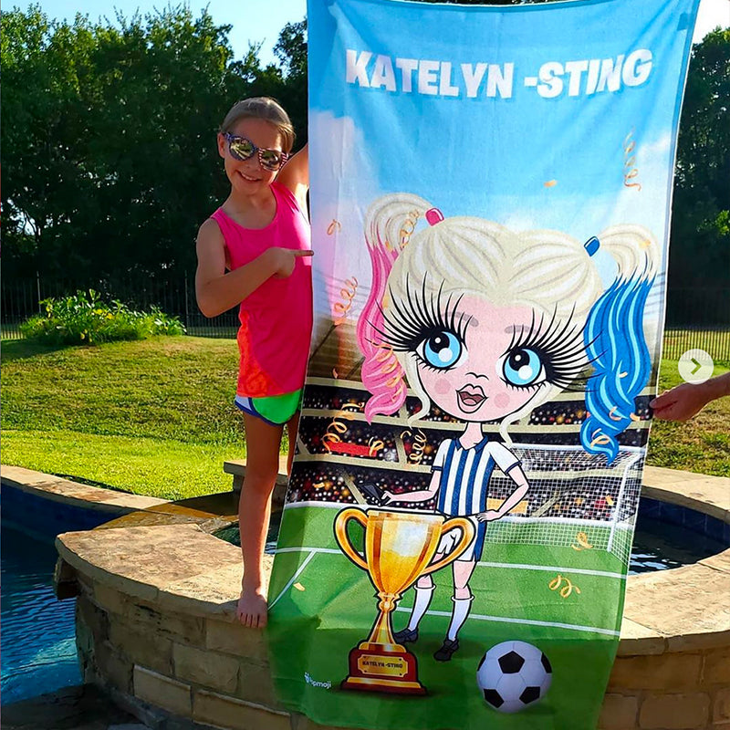 ClaireaBella Girls Soccer Champ Beach Towel