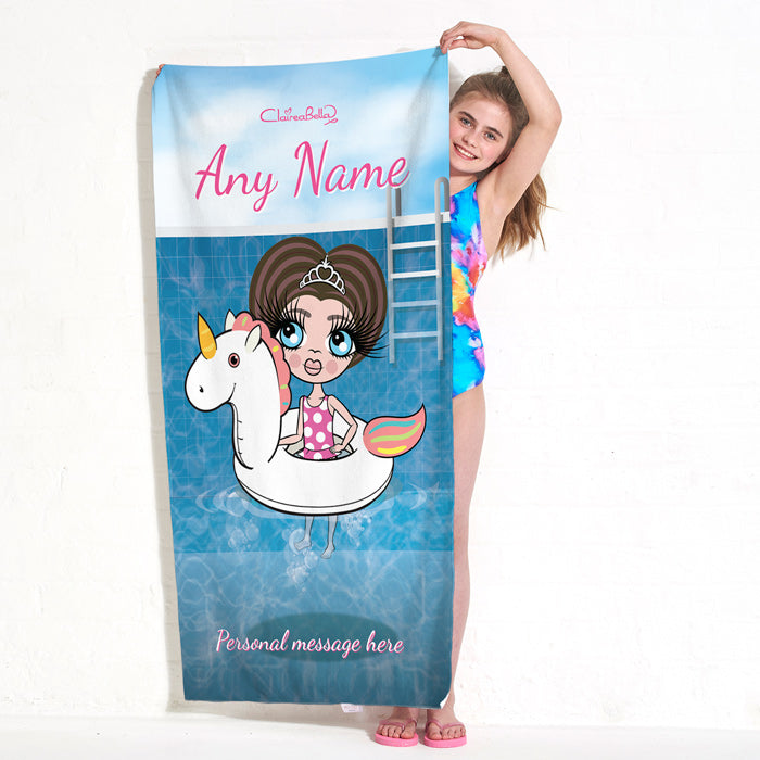 ClaireaBella Girls Unicorn Float Beach Towel
