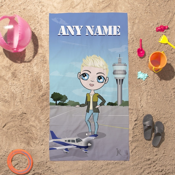 Jnr Boys Airplanes Beach Towel - Image 1