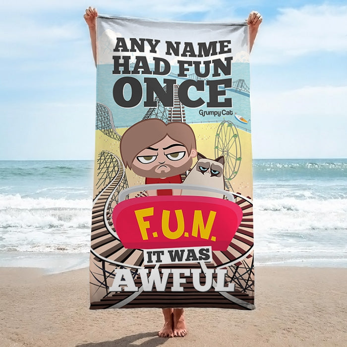 Grumpy Cat Had Fun Beach Towel - Image 3