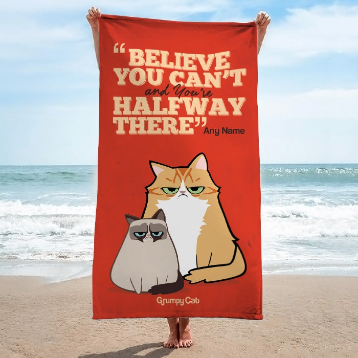 Grumpy Cat Believe Beach Towel - Image 3