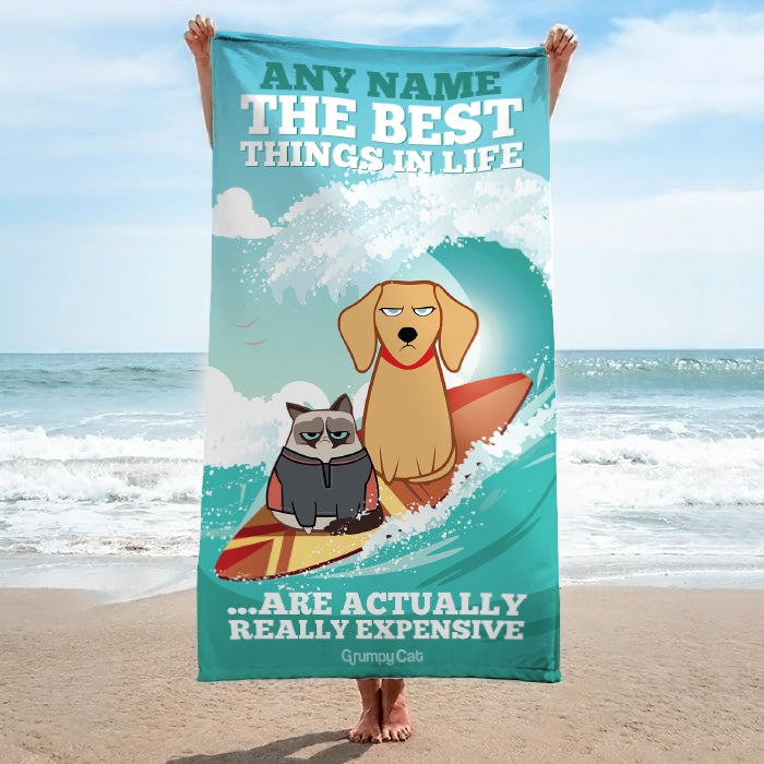 Grumpy Cat Best Things Beach Towel - Image 3