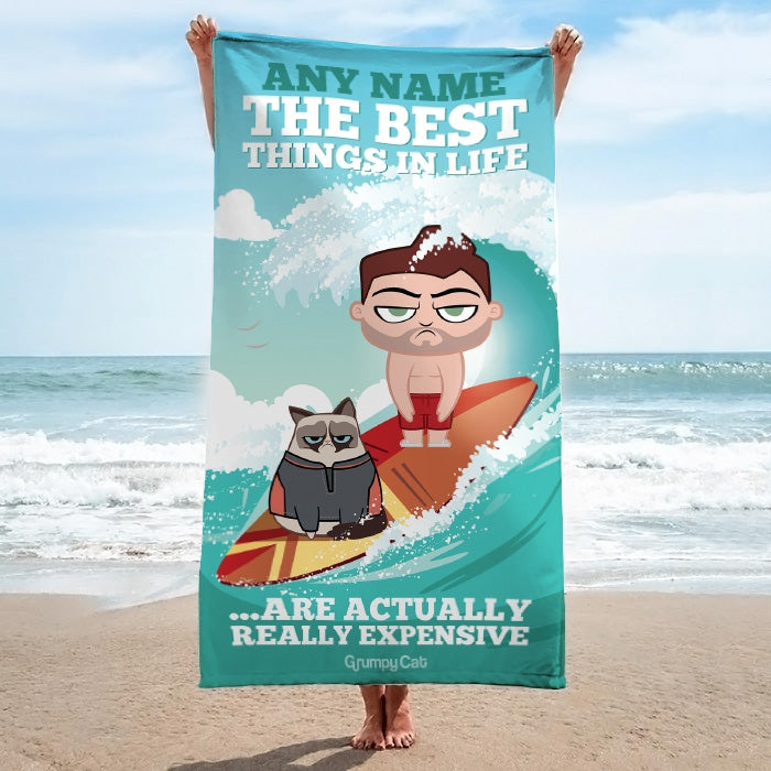 Grumpy Cat Best Things Beach Towel - Image 1