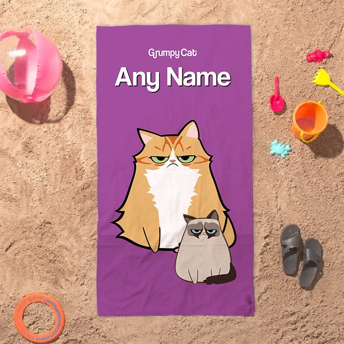 Grumpy Cat Purple Beach Towel - Image 1