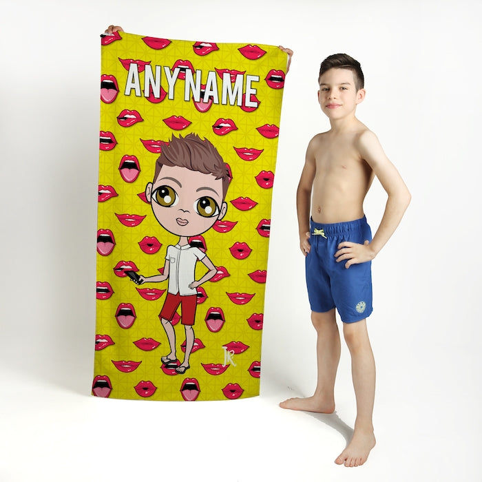 Jnr Boys Funky Lips Beach Towel - Image 1