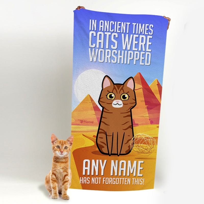 Personalized Cat Ancient Times Beach Towel - Image 3