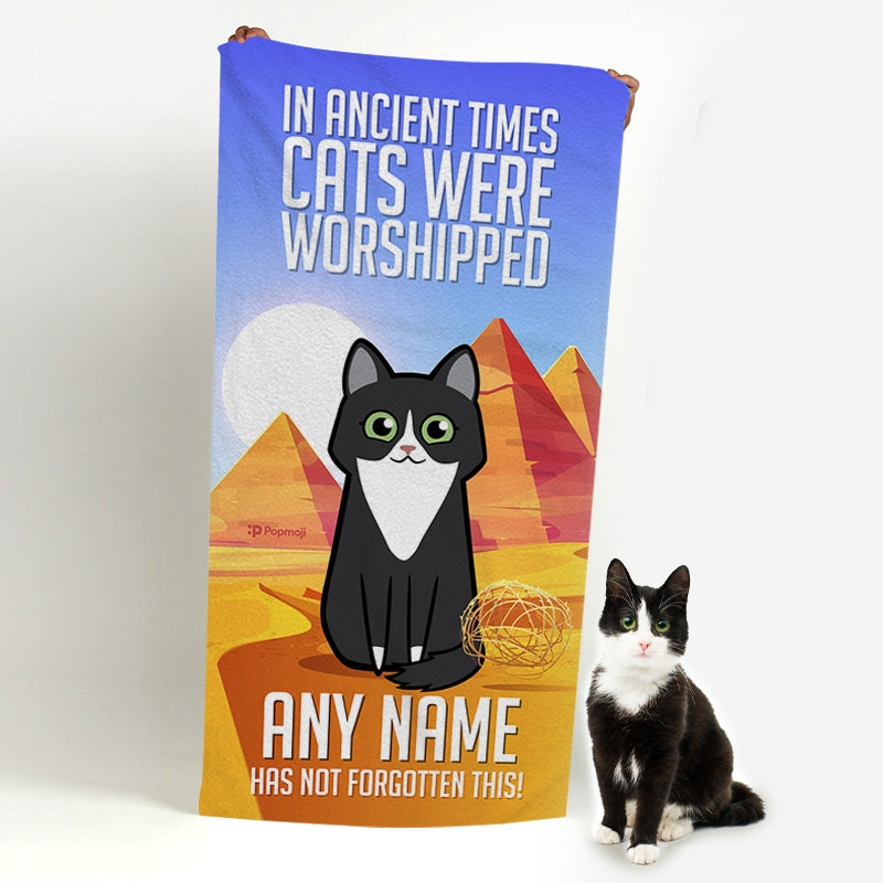 Personalized Cat Ancient Times Beach Towel - Image 2
