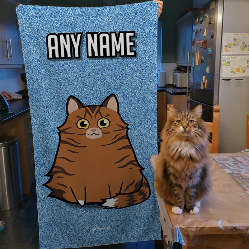 Personalized Cat Blue Glitter Beach Towel - Image 3