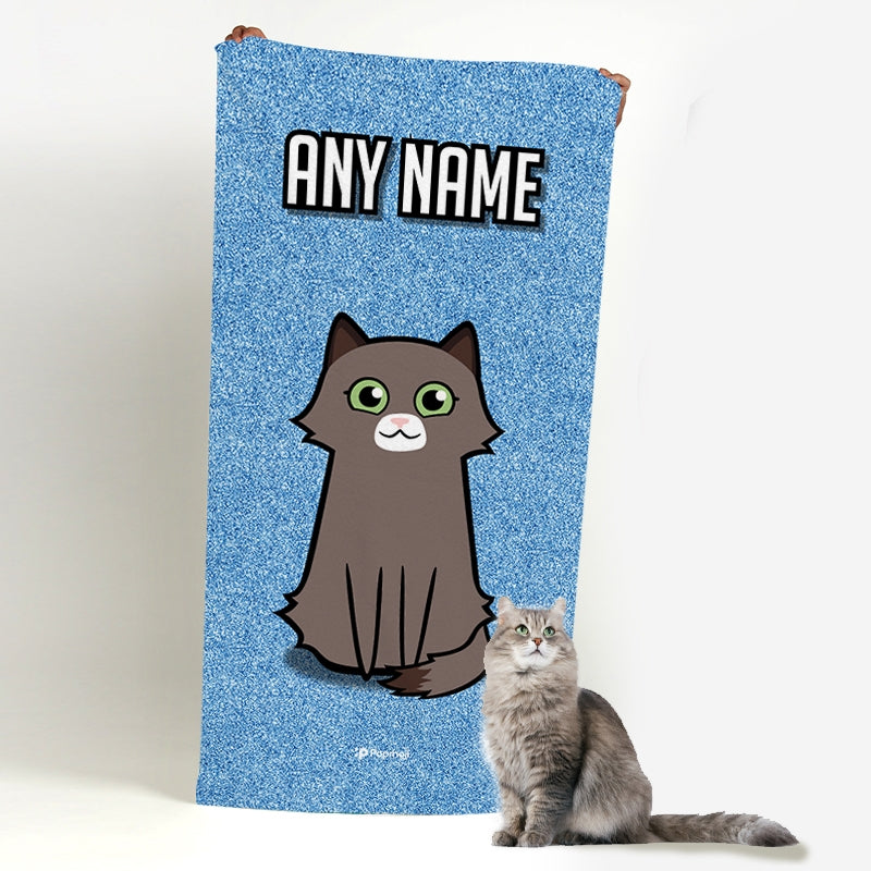 Personalized Cat Blue Glitter Beach Towel - Image 1
