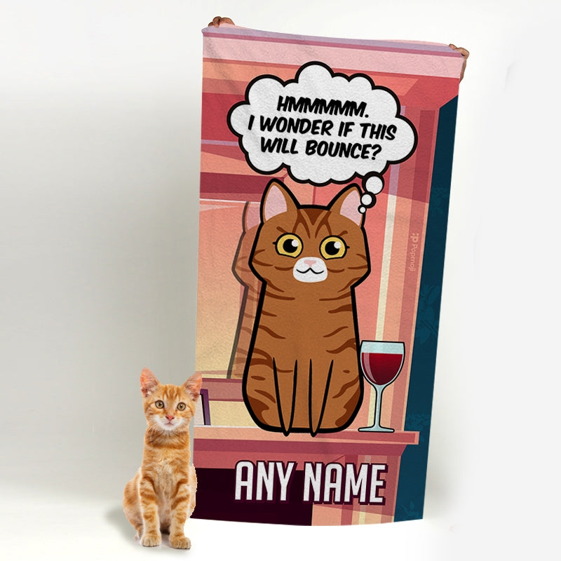 Personalized Cat Bounce Beach Towel - Image 1