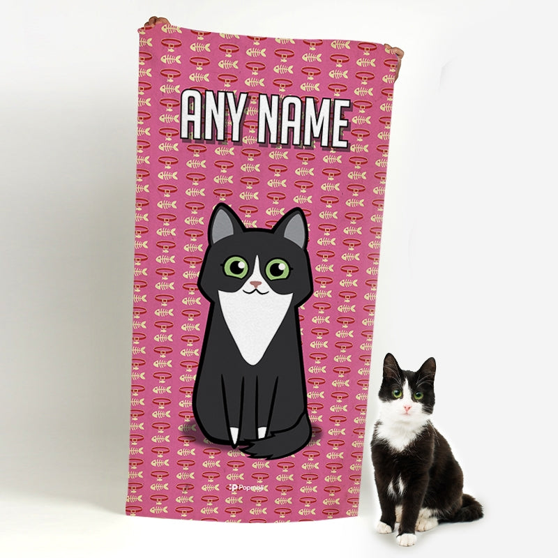 Personalized Cat Collar Beach Towel - Image 1