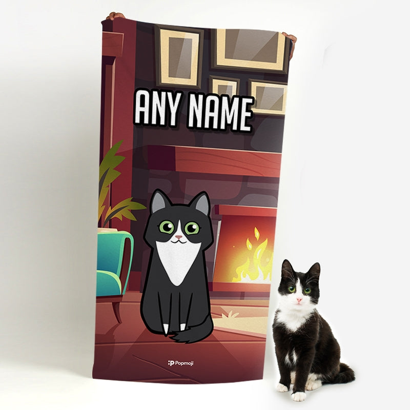 Personalized Cat Fireplace Beach Towel - Image 2