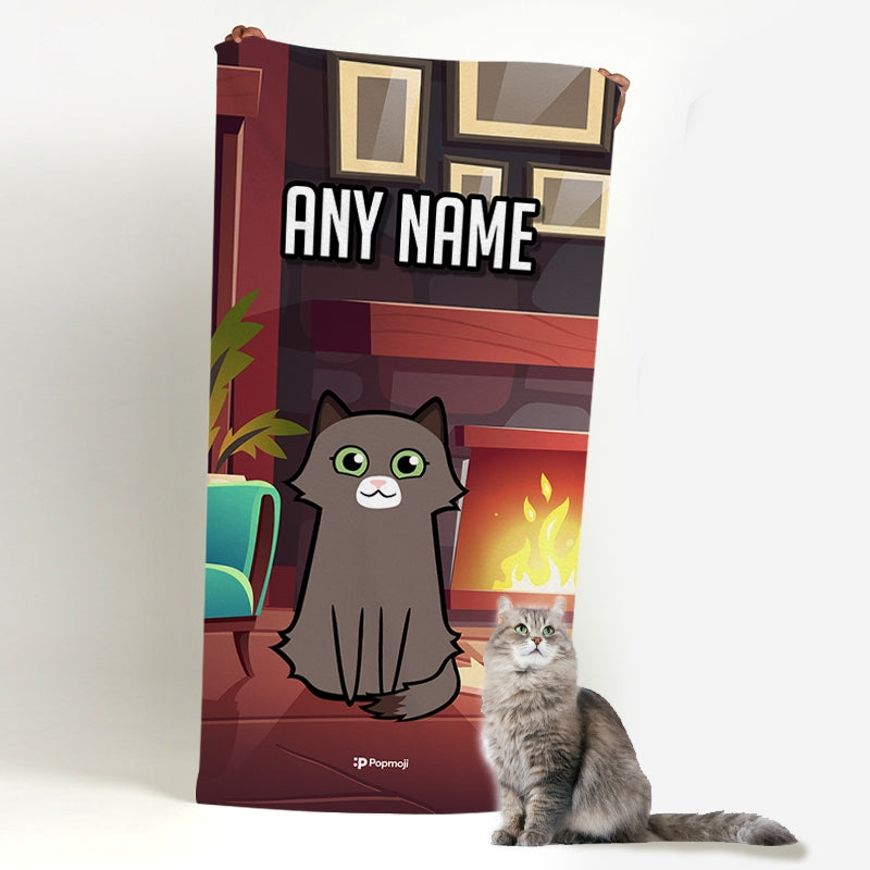 Personalized Cat Fireplace Beach Towel - Image 1