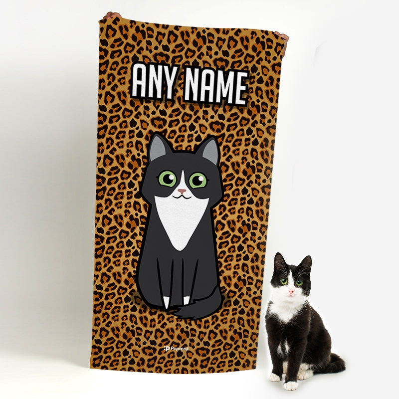 Personalized Cat Leopard Print Beach Towel - Image 1