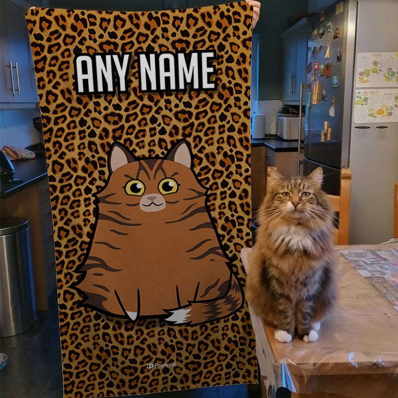 Personalized Cat Leopard Print Beach Towel - Image 3