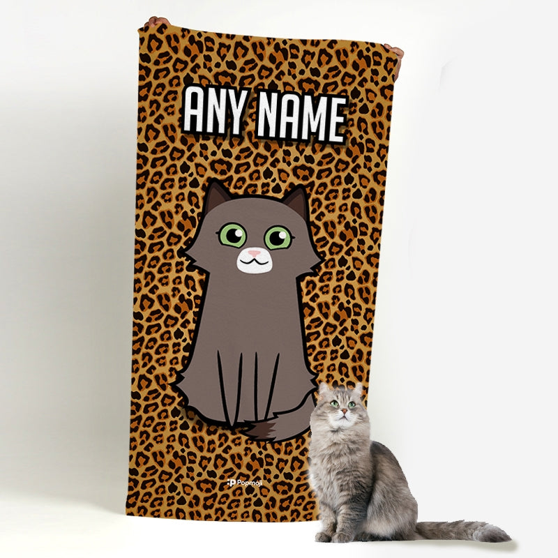 Personalized Cat Leopard Print Beach Towel - Image 4
