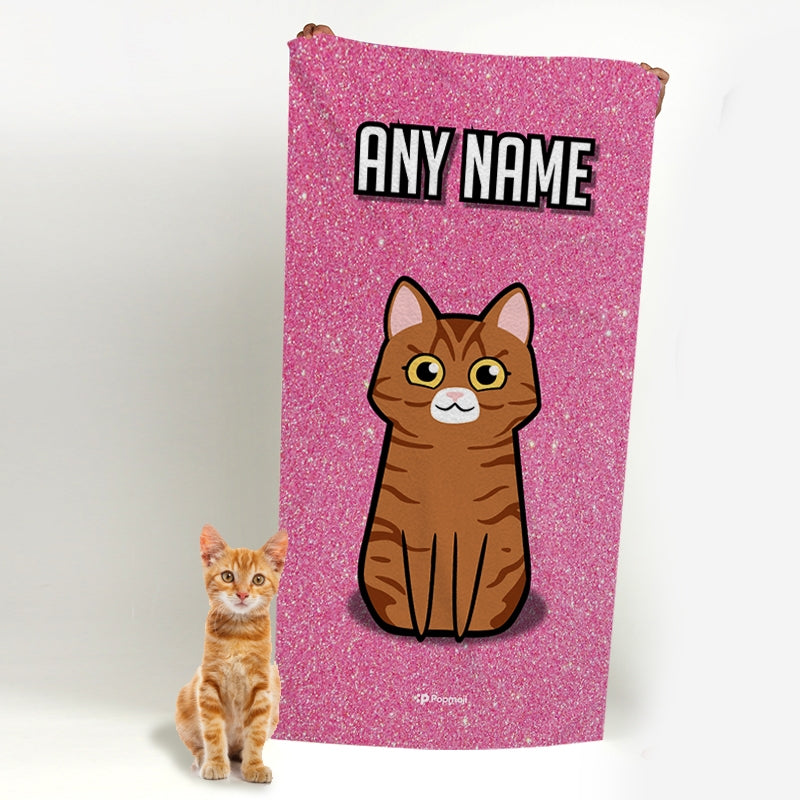 Personalized Cat Pink Glitter Beach Towel - Image 4