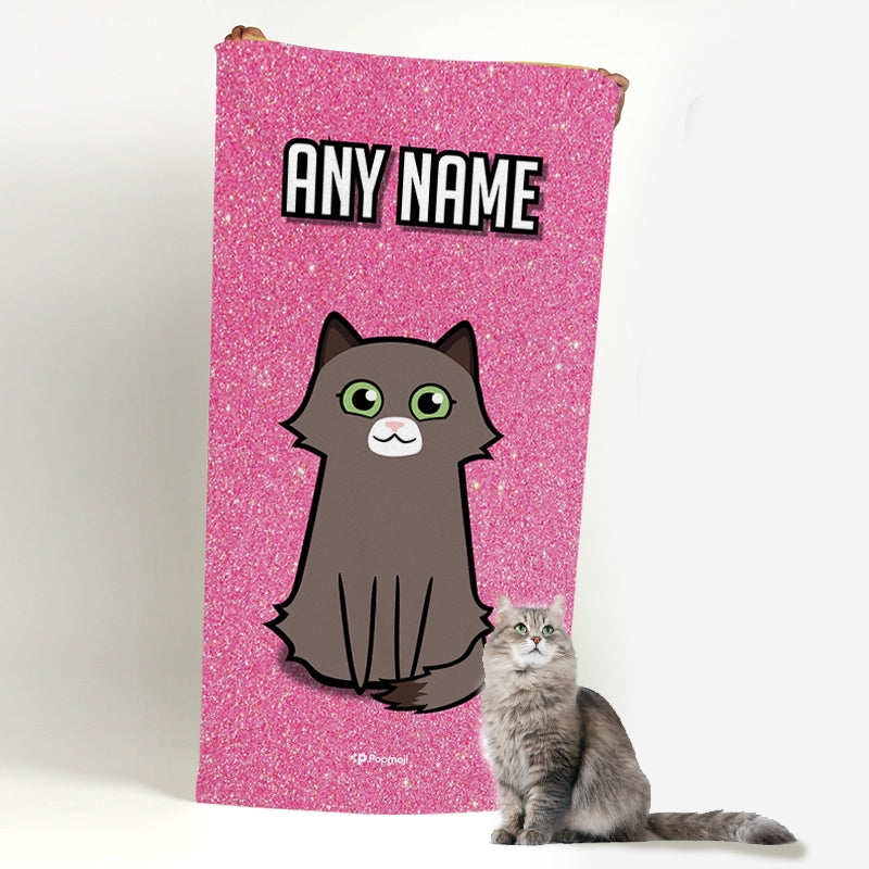 Personalized Cat Pink Glitter Beach Towel - Image 1
