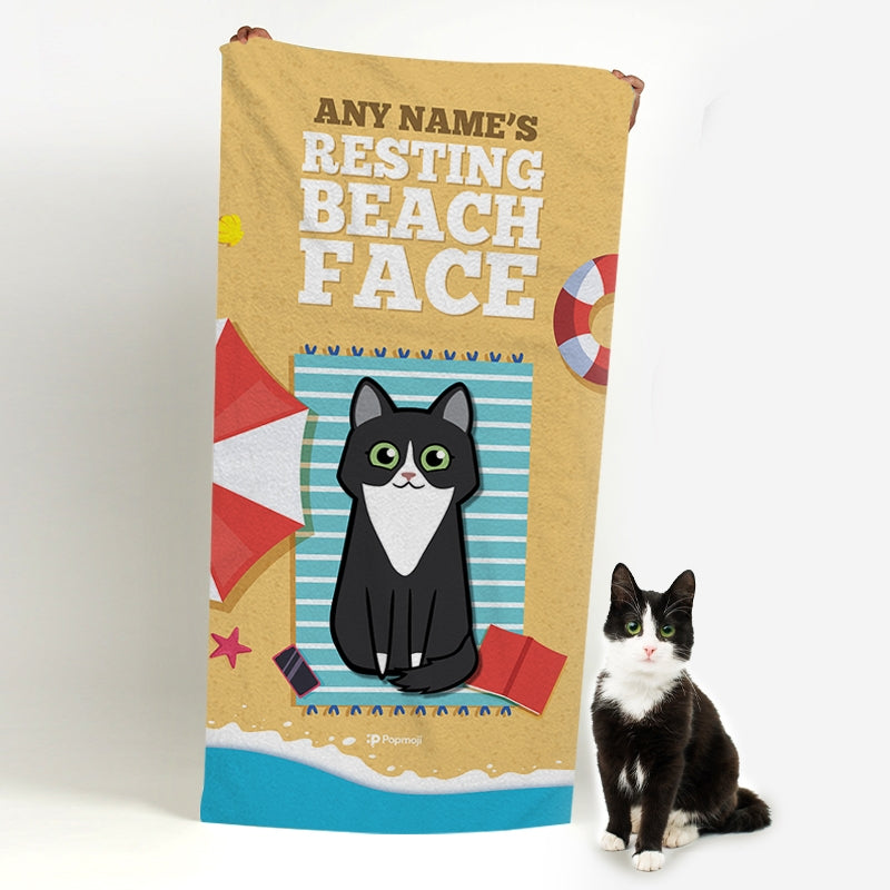 Personalized Cat Resting Beach Towel - Image 1