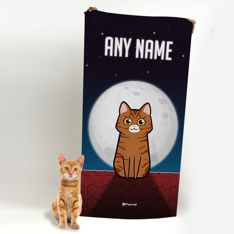 Personalized Cat Roof Top Beach Towel - Image 3
