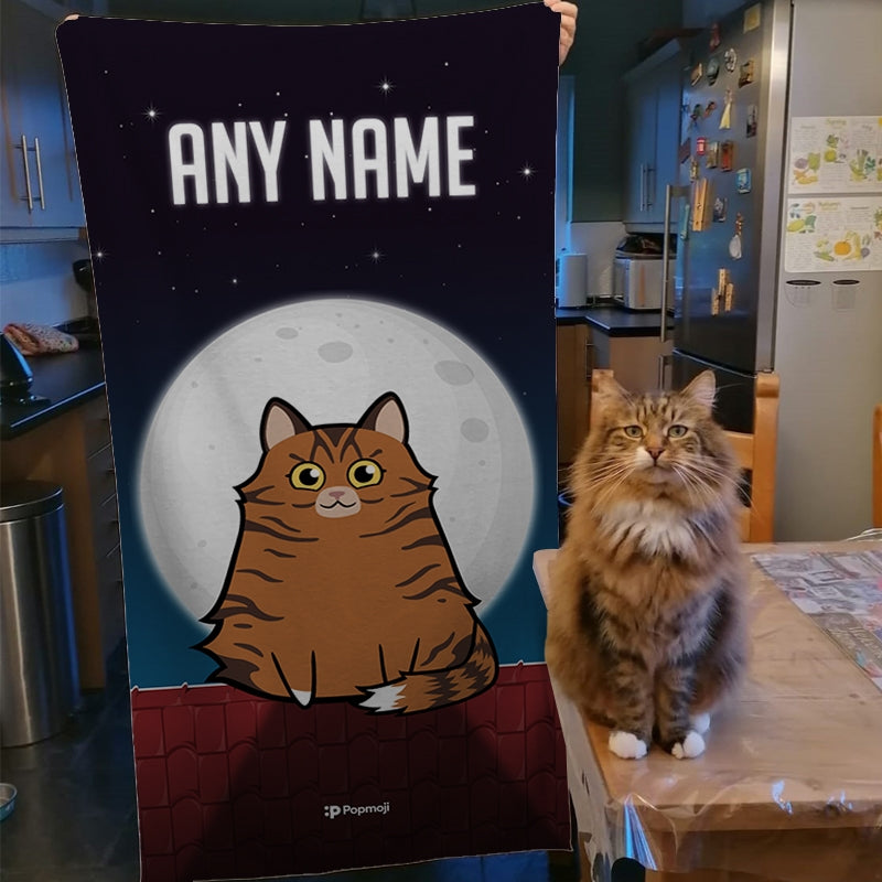 Personalized Cat Roof Top Beach Towel - Image 4
