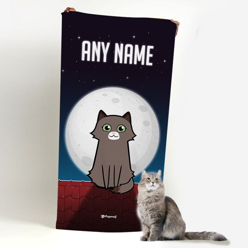 Personalized Cat Roof Top Beach Towel - Image 2