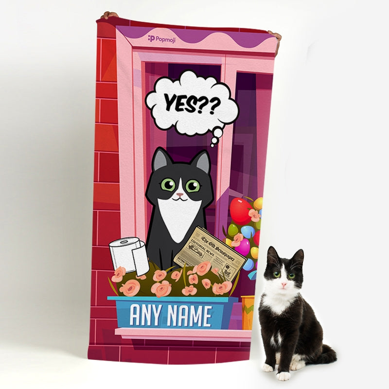 Personalized Cat Toilet Break Beach Towel - Image 2